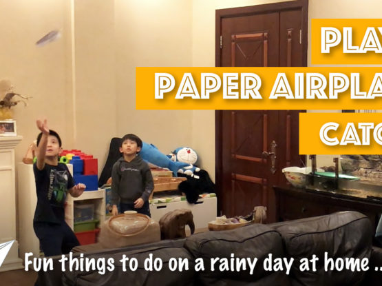 Paper Airplane Catch - rainy day activities