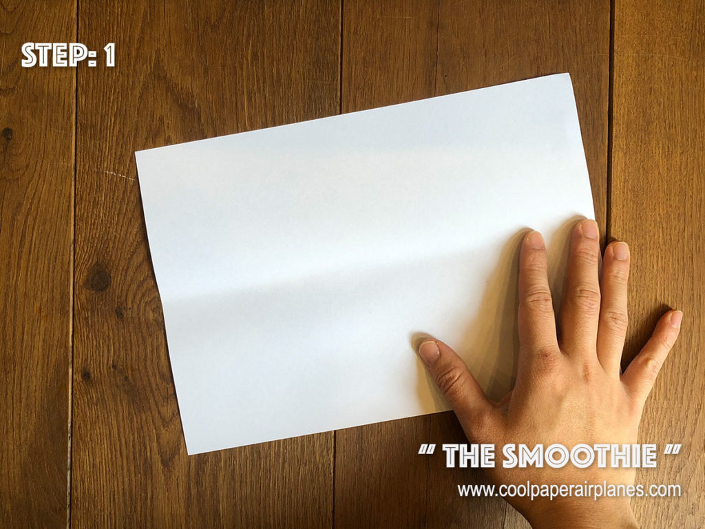 Smoothie paper airplane that flies far - Step 1