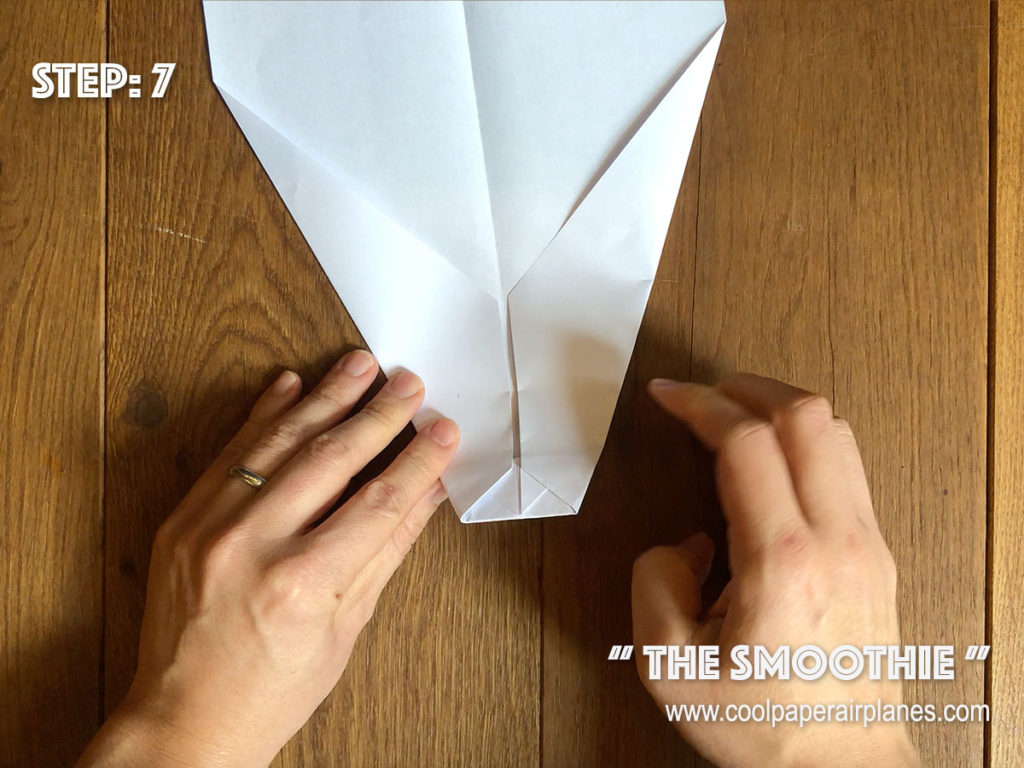 Smoothie paper airplane that flies far - Step 7
