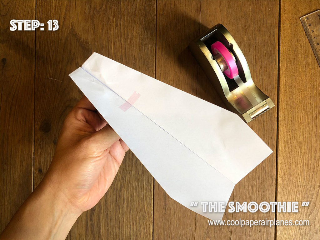 Smoothie paper airplane that flies far - Step 13